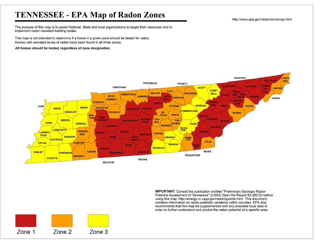 TN EPA Radon Testing Zones